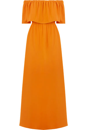 FLUID EXPOSED SHOULDER DRESS ORANGE