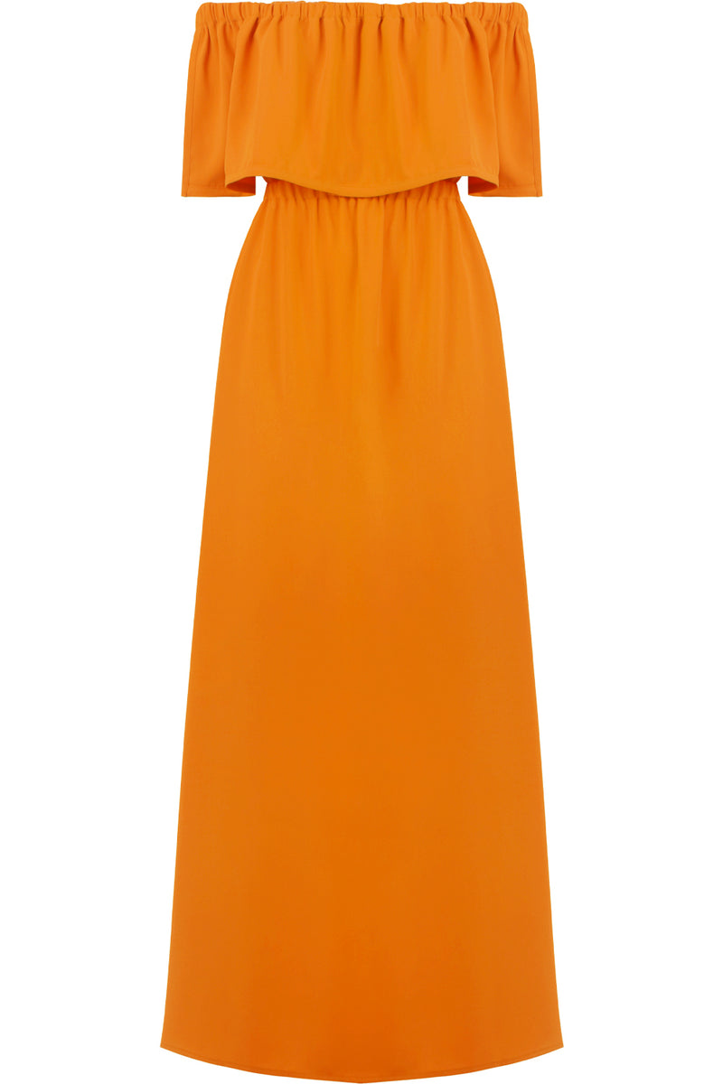 FLUID OFF-SHOULDER DRESS ORANGE