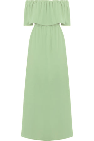 FLUID EXPOSED SHOULDER DRESS SAGE
