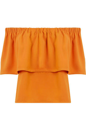 FLUID EXPOSED SHOULDER BLOUSE ORANGE