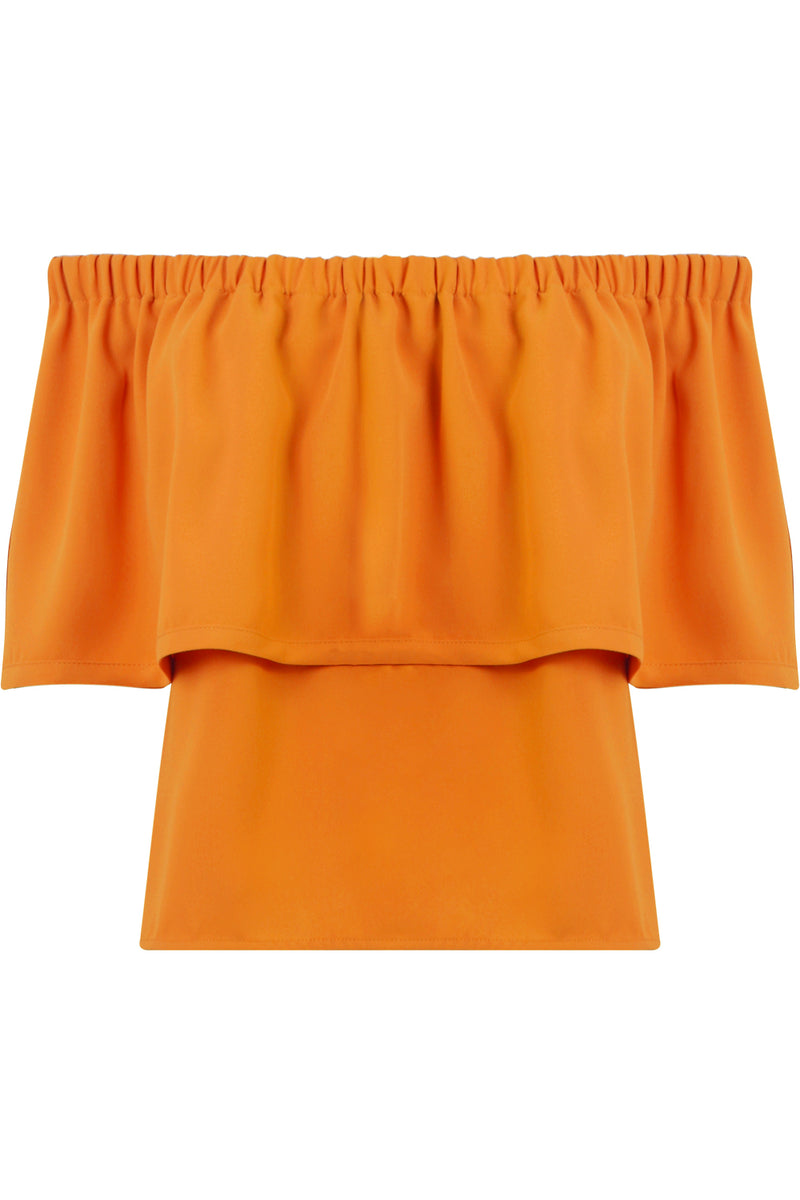FLUID OFF-SHOULDER BLOUSE ORANGE
