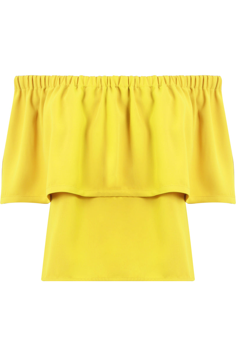 FLUID OFF-SHOULDER BLOUSE YELLOW