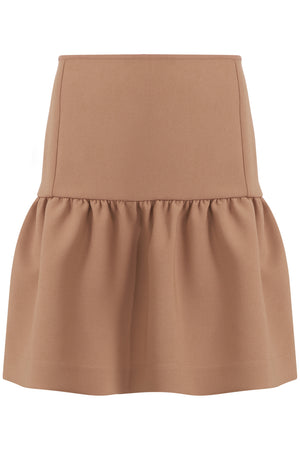 TISSUE MINI PEPLUM SKIRT NUTMEG
