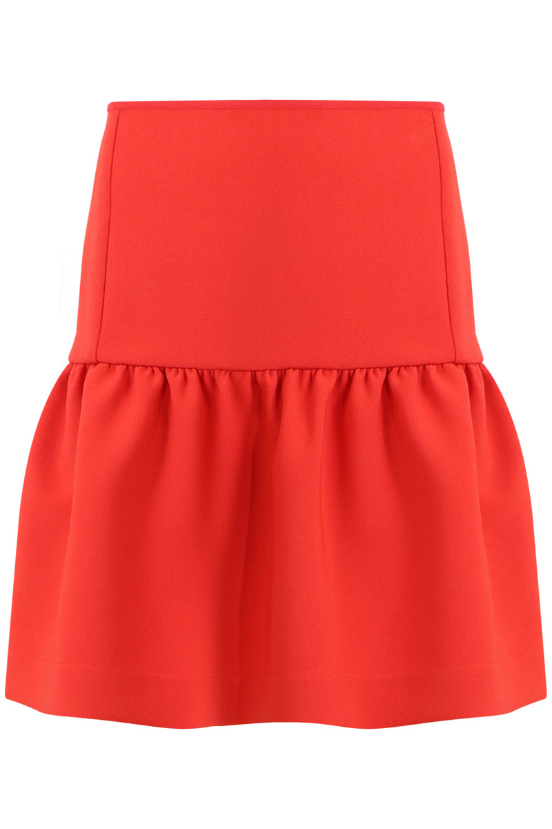 TISSUE MINI PEPLUM SKIRT RED