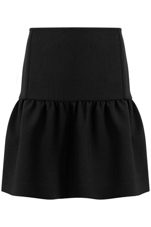 TISSUE MINI PEPLUM SKIRT BLACK
