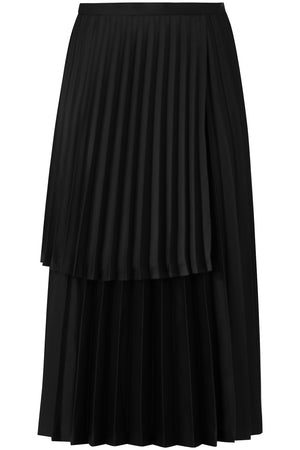 NOIR ASYMMETRIC PLEATED SKIRT BLACK