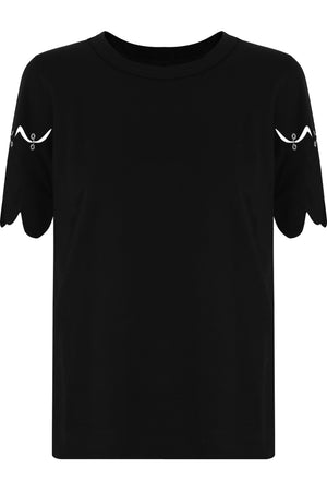 NOIR SCALLOPED SLEEVE T-SHIRT BLACK