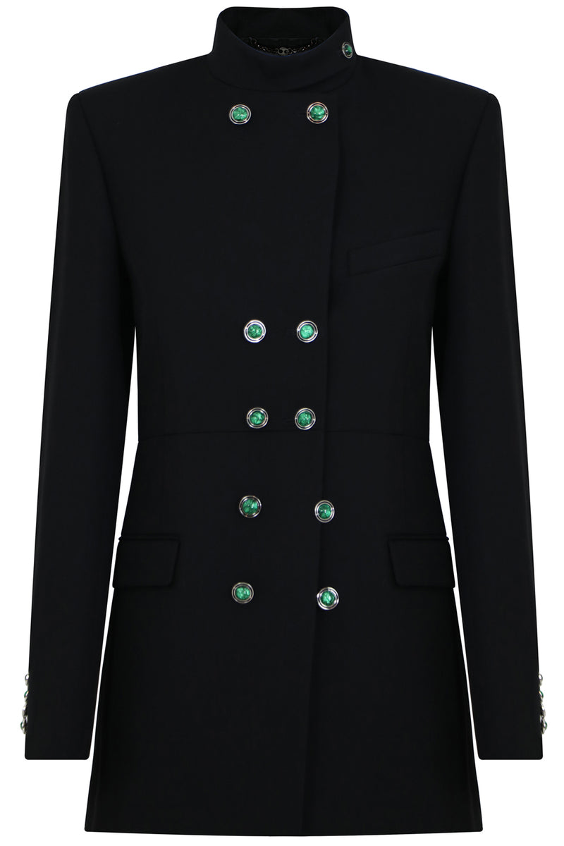 CONTRAST BUTTON JACKET BLACK