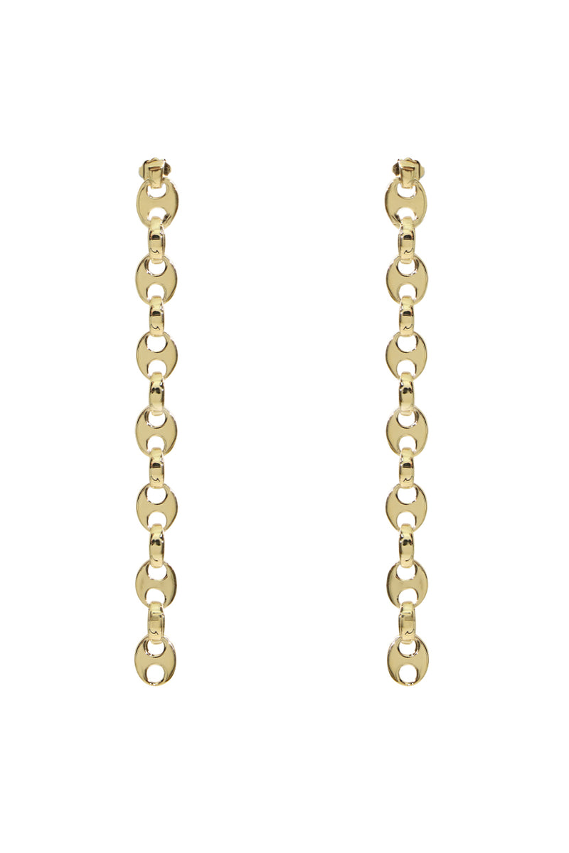EIGHT LINK NANO DROP EARRINGS GOLD