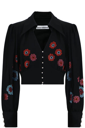 FLOWER DIAMANTE V NECK BLOUSE L/S BLACK