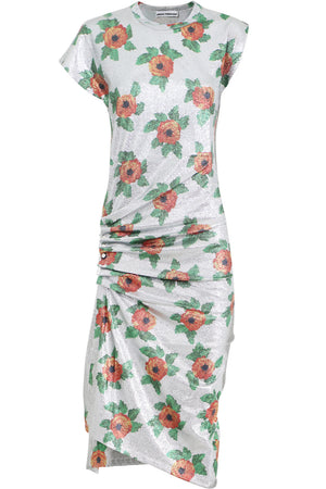 FLORAL LUREX CAP/SL DRESS SILVER