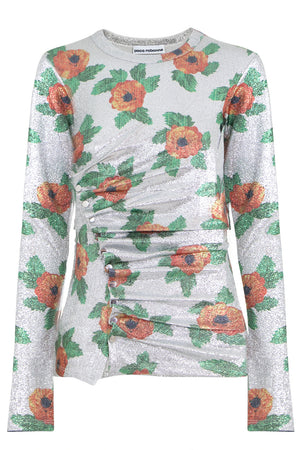 FLORAL LUREX RUCHED L/S TOP SILVER