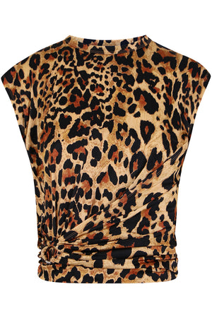 CROPPED RUCHED TOP CAP/SL LEOPARD PRINT