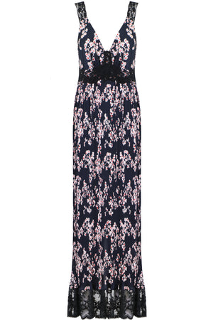 SAKURA PRINT S/LESS DRESS BLACK