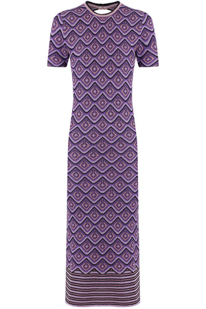 GEOMETRIC LUREX MAXI DRESS S/S PURPLE