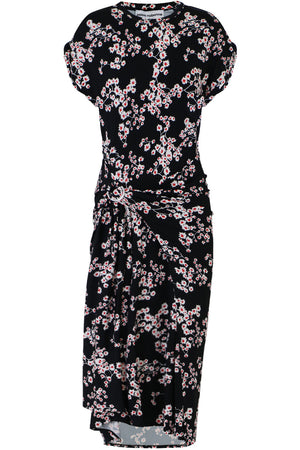 SAKURA PRINT ASYMMETRIC DRESS CAP/SL BLACK