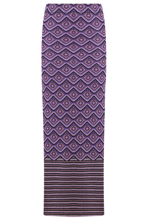 GEOMETRIC LUREX MAXI SKIRT PURPLE