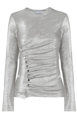 ASYMMETRIC RUCHED L/S TOP SILVER