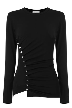 ASYMMETRIC RUCHED TOP L/S BLACK