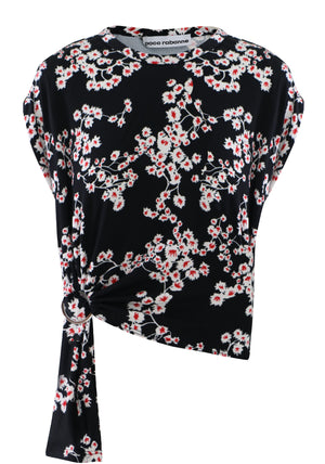SAKURA PRINT TIE UP TOP S/S BLACK
