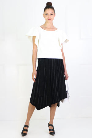 STRIPED KNIT WRAP SKIRT BLACK/ECRU