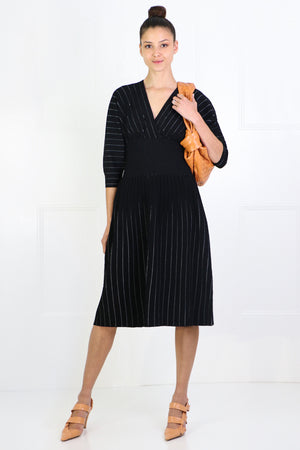 STRIPED KNIT MIDI DRESS 3/4SL BLACK/ECRU