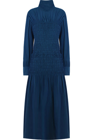 RUCHED SMOCKED DRESS L/S PETROL