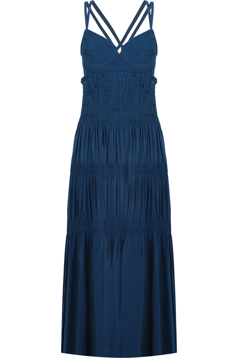 RUCHED BUSTIER SMOCKED DRESS S/LESS PETROL