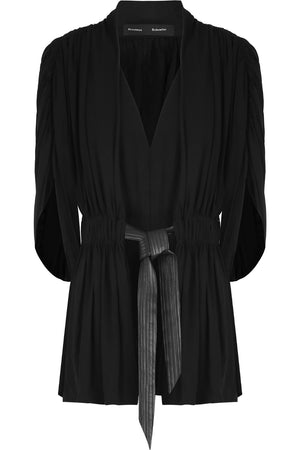 LEATHER TIE PLEATED BLOUSE BLACK