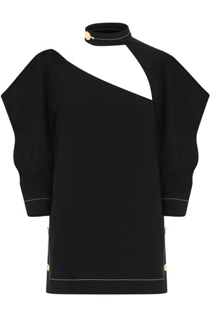ASYMMETRIC CUTOUT BLOUSE 3/4SL BLACK