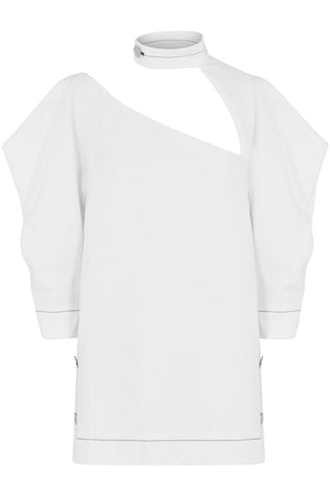 ASYMMETRIC CUTOUT BLOUSE 3/4SL OFF WHITE