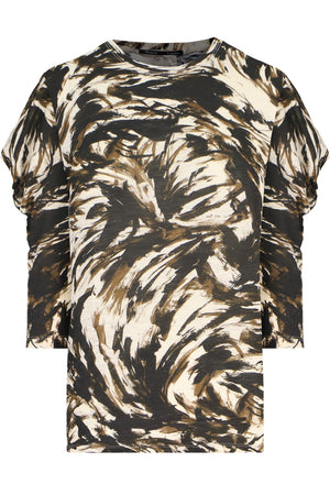 FEATHER PRINT 3/4SL T-SHIRT FATIGUE