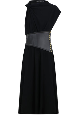 ASYMMETRIC LEATHER PANEL DRESS BLACK