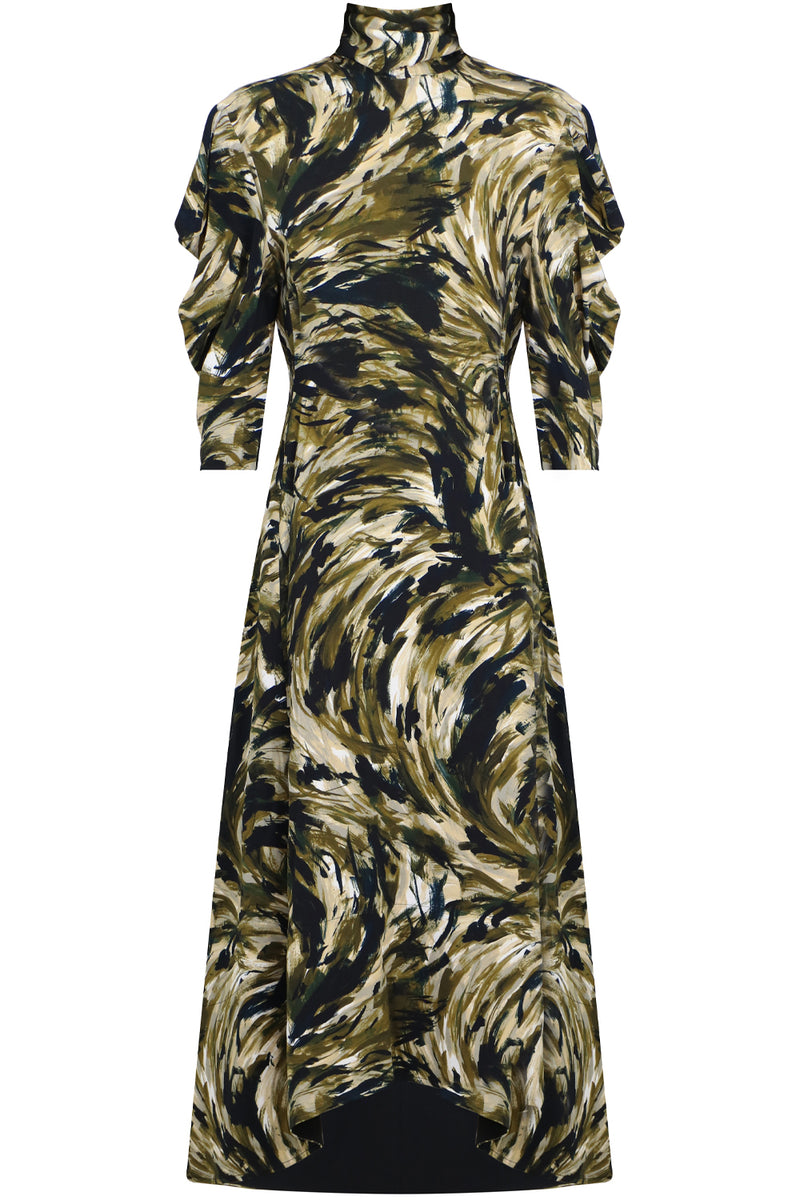 SAFARI PRINT MAXI DRESS L/S FATIGUE
