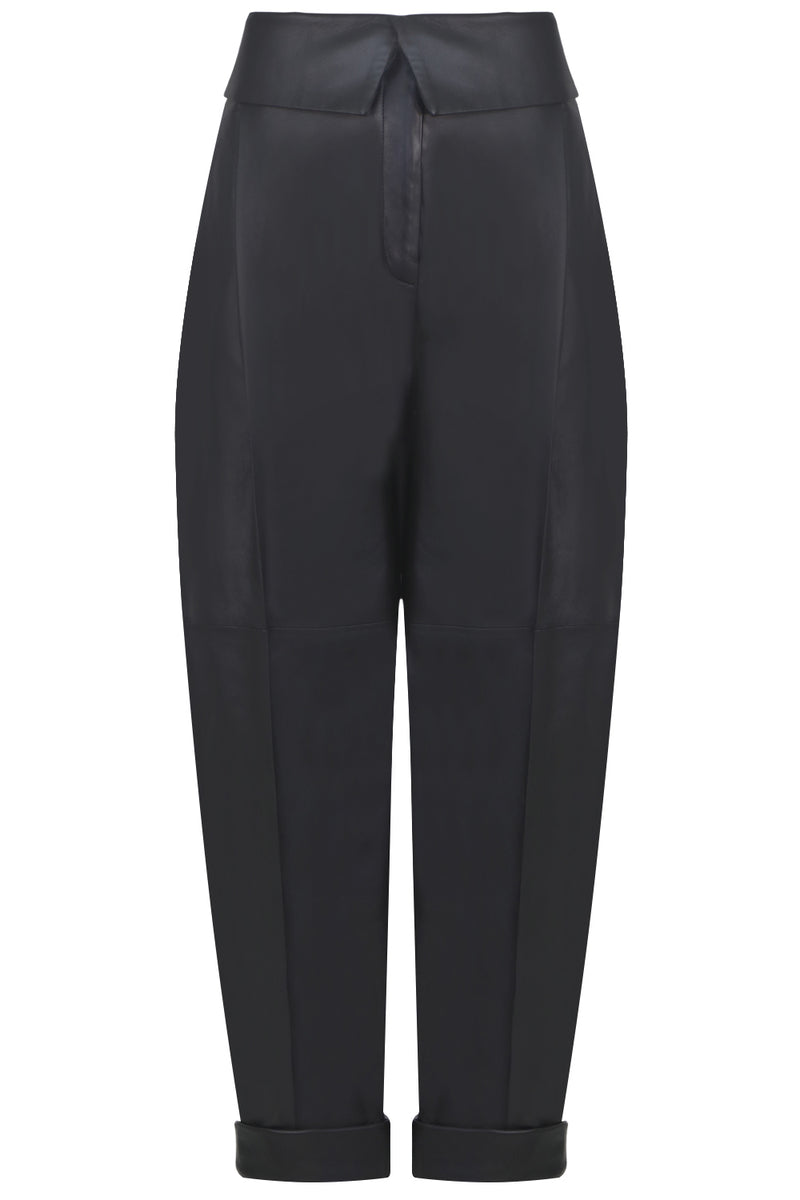 LEATHER TAPERED TROUSERS BLACK
