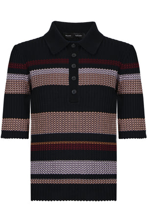 ZIG ZAG POLO KNIT TOP S/S BLACK