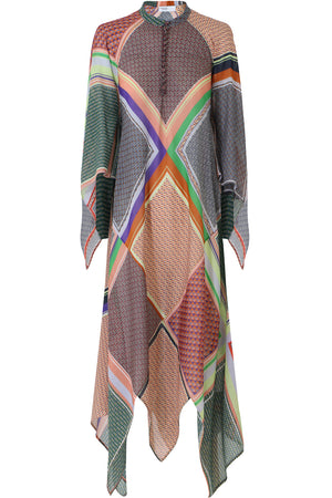 SCARF PRINT MAXI DRESS MULTI