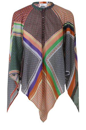 SCARF PRINT CAPE BLOUSE MULTI