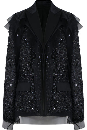 SPANGLE EMBROIDERED JACKET BLACK