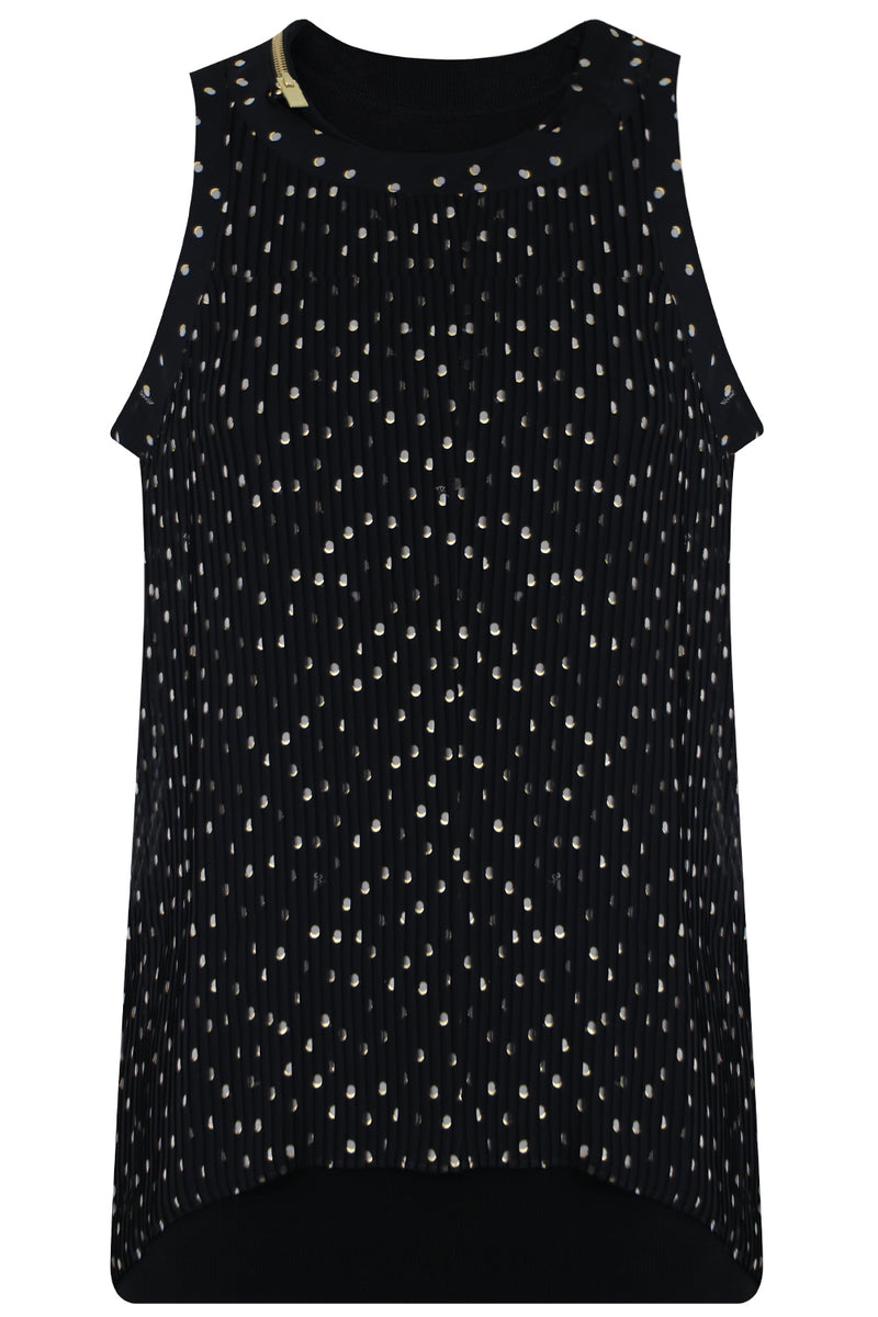 POLKADOT PLEATED TANK TOP BLACK