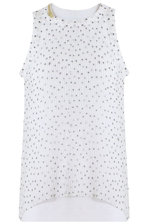 POLKADOT PLEATED TANK TOP WHITE