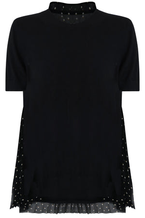 POLKADOT PLEATED BACK KNIT S/S BLACK