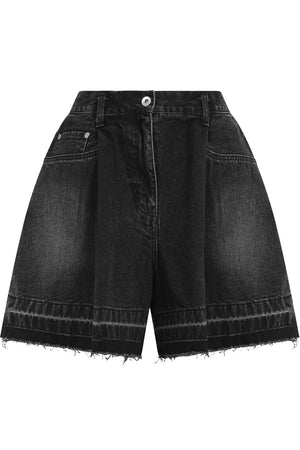 PLEATED DENIM SHORTS BLACK