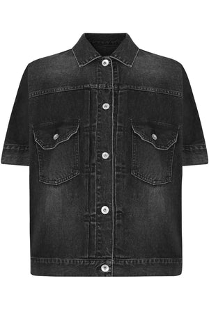 OVERSIZED DENIM SHIRT S/S BLACK
