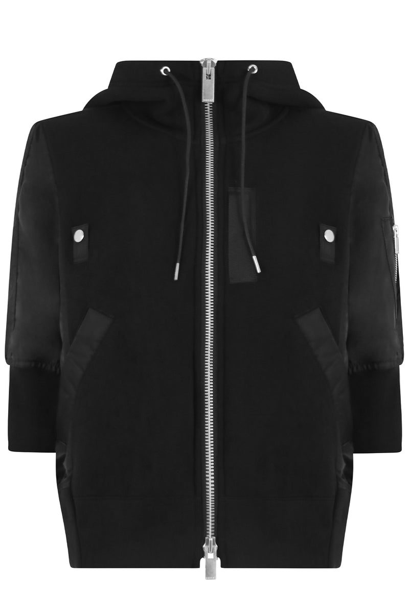 ZIPPED HOODY S/S BLACK
