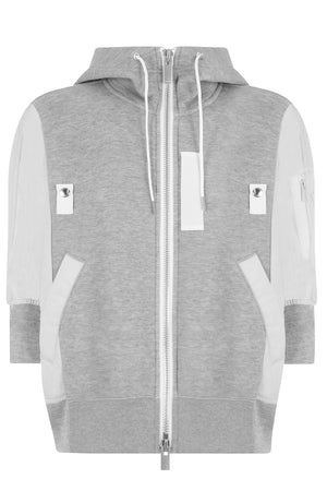 ZIPPED HOODY S/S LIGHT GREY