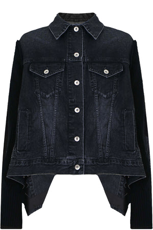 KNIT DENIM JACKET BLACK
