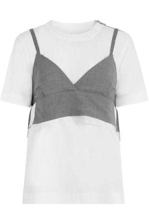 CONTRAST BODICE TOP GREY/WHITE
