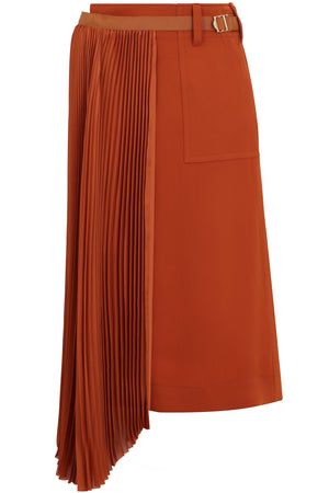 ASYMMETRIC PLEATED SKIRT ORANGE
