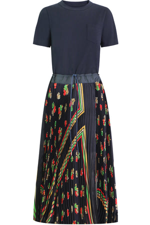 ARCHIVE PRINT MAXI DRESS S/S NAVY